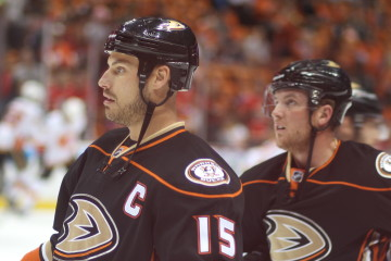 Ryan Getzlaf (#15) and Cam Fowler (#4)