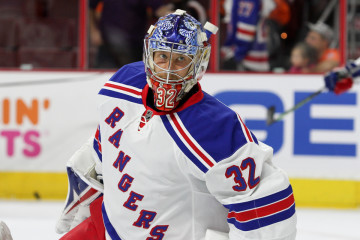 NHL 2015 - Sept 22 - NYR vs PHI - Goalie Antti Raanta (#32) of the New York Rangers