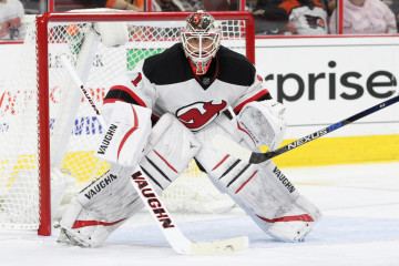 Goalie Keith Kinkaid (#1) of the New Jersey Devils during the third period