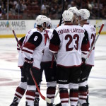 Coyotes celebrate an Anthony Duclair (#10) goal