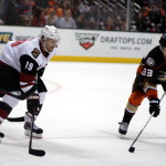 Coyote captain Shane Doan (#19) and Ducks forward Jakob Silfverberg (#33)