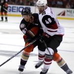 Rickard Rakell (#67) and Jordan Martinook (#48) battle for the puck
