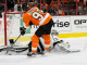 Goalie Jonathan Quick (#32) of the Los Angeles Kings makes a save against Right Wing Jakub Voracek (#93) of the Philadelphia Flyers to seal the victory during the shootout