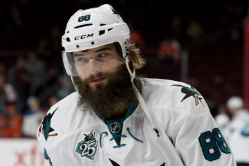 Defenseman Brent Burns (#88) of the San Jose Sharks during the warm-ups