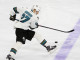 Right Wing Joonas Donskoi (#27) of the San Jose Sharks lifts his skate to block the puck during the first period