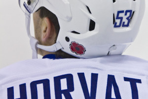 Bo Horvat (VAN - 53) sports a poppy for Remembrance Day.