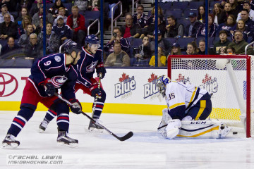 Gregory Campbell (CBJ - 9) scores a goal against Pekka Rinne (NSH - 35).