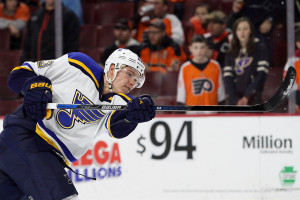 Right Wing Dmitrij Jaskin (#23) of the St Louis Blues shoots the puck during the warm-ups