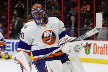 Goalie Jaroslav Halak (#41) of the New York Islanders skates during the warm-ups