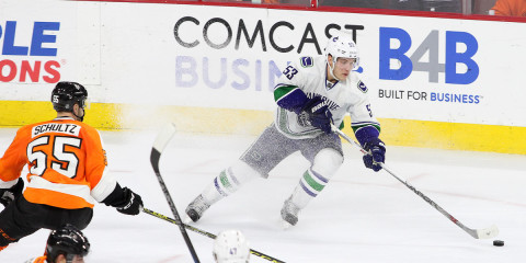 Center Bo Horvat (#53) of the Vancouver Canucks stops with the puck during the third period