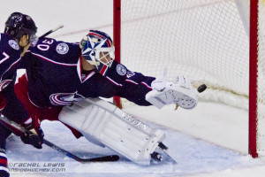 Alec Martinez (LA - 27, not pictured) scores the game winning goal in OT against Curtis McElhinney (CBJ - 30).  McElhinney replaced an injured Sergei Bobrovsky late in the third period.