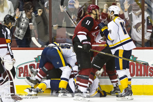 Predators and Coyotes players tangle after the 2nd period ends.  The Arizona Coyotes shut out the Nashville Predators 4-0 Saturday, January 9, 2016 at Gila River Arena in Glendale, AZ.  (Rachel Lewis - Inside Hockey)