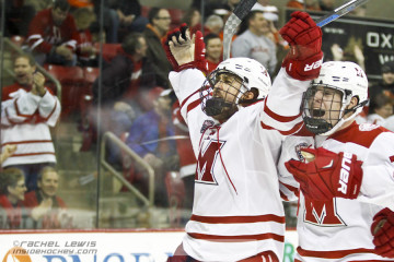 Alex Gacek (Miami - 12) celebrates his goal with Josh Melnick (Miami - 37).