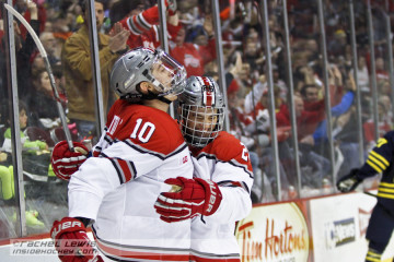 John Wiitala (OSU - 10) celebrates his goal with Mason Jobst (OSU - 26).