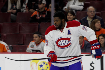 Defenseman P.K. Subban (#76) of the Montreal Canadiens bounces the puck in the air with his stick during the warm-ups