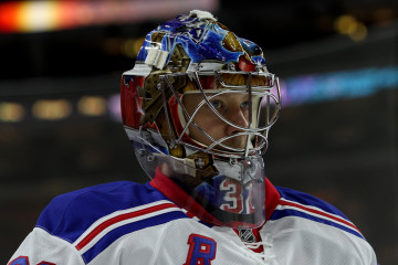Goalie Antti Raanta (#32) of the New York Rangers during the warm-ups