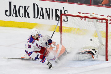 Left Wing Chris Kreider (#20) of the New York Rangers scores a goal during the second period
