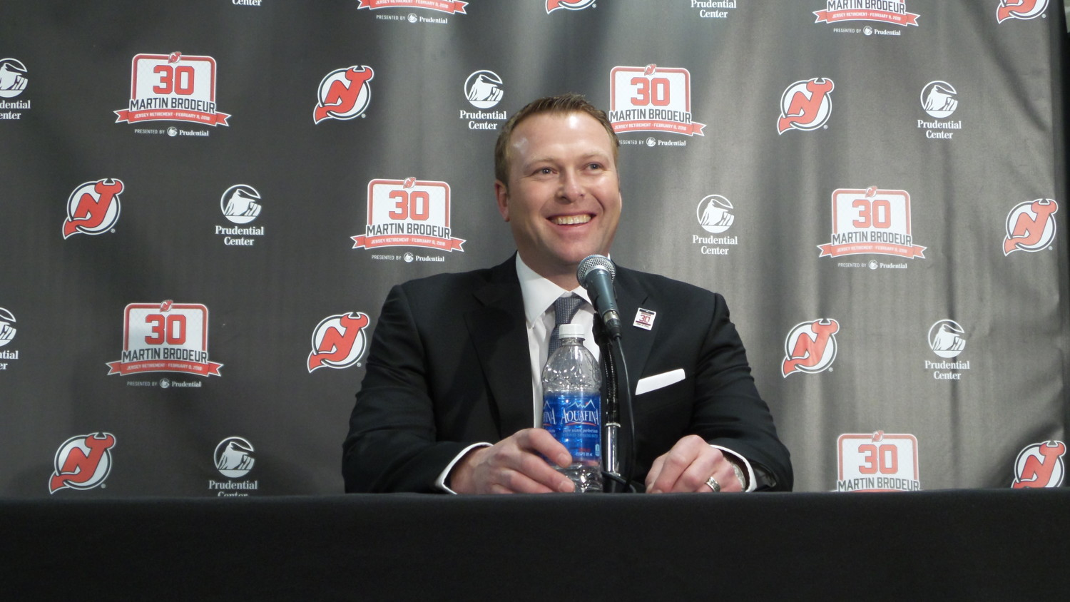 The New Jersey Devils honored Martin Brodeur on February 9, 2016 by lifting his #30 to the rafters. (Photo by Michelle Kenneth)