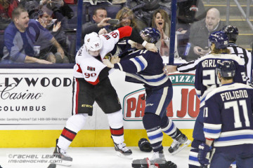 Alex Chiasson (OTT - 90) fights Matt Calvert (CBJ - 11).