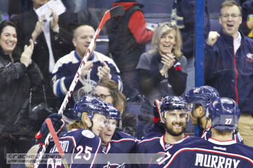 Nick Foligno (CBJ - 71) celebrates his first of three goals with teammates.