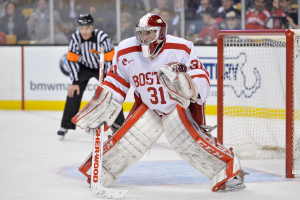 The Boston University Terriers beat the Northeastern University Huskies 3-1 during a first round game of the Beanpot Tournament at Boston's TD Garden.