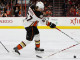 Center Rickard Rakell (#67) of the Anaheim Ducks shoots the puck during the third period