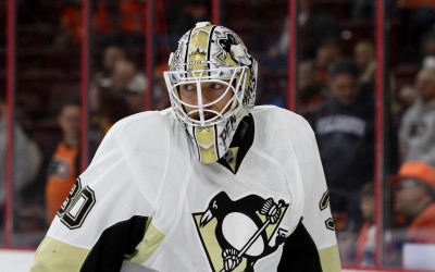 Goalie Matthew Murray (#30) of the Pittsburgh Penguins during the warm-ups