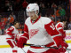Right Wing Gustav Nyquist (#14) of the Detroit Red Wings grins during the warm-ups
