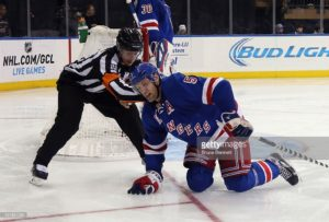 skates against the San Jose Sharks at Madison Square Garden on October 19, 2014 in New York City. The Rangers shutout the Sharks 4-0.