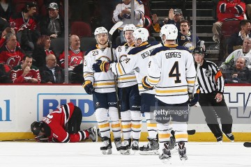 of the New Jersey Devils of the Buffalo Sabres at Prudential Center on April 5, 201