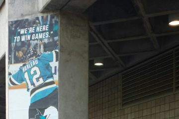 Patrick Marleau banner outside of SAP Center.