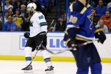 Brent Burns in Sharks vs. Blues Game 2 at Scottrade Center, courtesy of @Sportsnet.