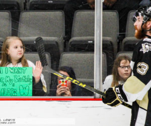 A young Nailers fan gets her birthday wish from Riley Brace (WHL - 23). Brace scored the game-winning goal in OT to give Wheeling the win.