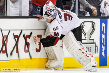 Anton Forsberg (LEM - 31) spray paints another win off the countdown to the Calder Cup.