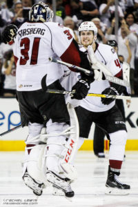 Anton Forsberg (LEM - 31) leaps into the arms of TJ Tynan (LEM - 18).