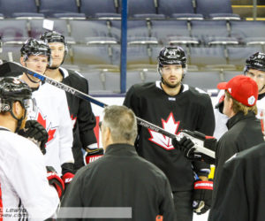 Team Canada Head Coach Mike Babcock instructs the team for the next drill.