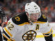 Center David Backes (#42) of the Boston Bruins gets ready for a face-off