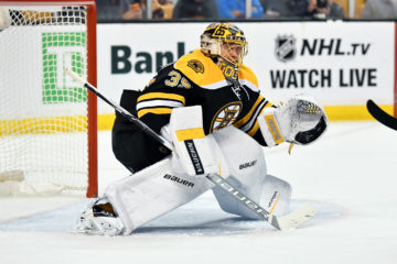 Boston Bruins goalie Anton Khudobin (35) during a NHL game against the Montreal Canadiens.