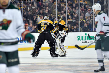 Oct 25, 2016; Boston Bruins goalie Malcolm Subban (70) is replaced by Boston Bruins goalie Zane McIntyre (31) during a NHL game against the Minnesota Wild. Credit: Brian Fluharty-Inside Hockey.