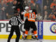 Defenseman Jakob Chychrun (#6) of the Arizona Coyotes and Center Brayden Schenn (#10) of the Philadelphia Flyers get into a fight