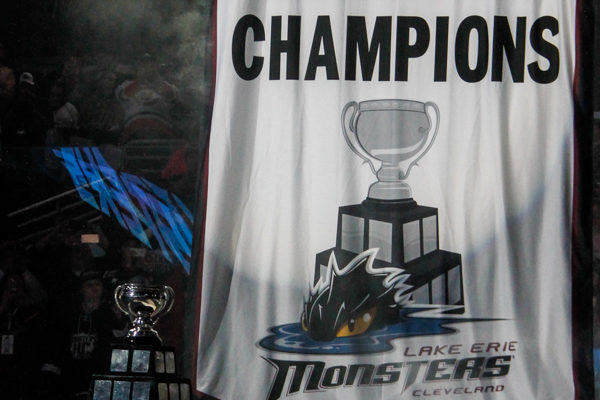 The Cleveland Monsters raise their 2016 Calder Cup Champions banner.
